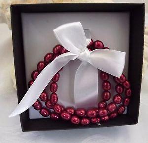 【送料無料】ブレスレット アクセサリ― ストレッチブレスレットパールセットhonora cultured ringed pearl set of 3 stretch bracelets averagelarge cherry