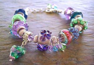 【送料無料】ブレスレット アクセサリ― セールヨーロッパビーズブレスレットマルチカラービーズ european bead bracelet multicolor blues, greens, purple large hole beads