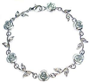 【送料無料】ブレスレット アクセサリ― スワロフスキークリスタルバラブレスレットクリスマスw swarovski crystal ~silver rose flower floral bridal wedding bracelet xmas gift