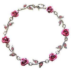 【送料無料】ブレスレット アクセサリ― スワロフスキークリスタルピンクバラブレスレットクリスマスw swarovski crystal ~pink rose flower~ floral bridal wedding bracelet xmas gift