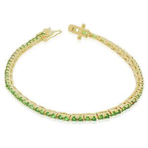 【送料無料】ブレスレット アクセサリ― スターリングシルバーラウンドテニスブレスレット925 sterling silver green emeraldtone round cz tennis bracelet, 7