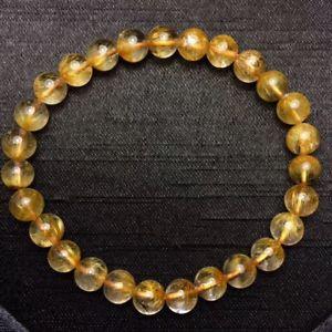【送料無料】ブレスレット アクセサリ― ゴールドルチルクリスタルビーズストレッチブレスレット66mm natural gold sunflower rutilated quartz stretch crystal beads bracelet