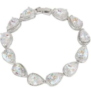 【送料無料】ブレスレット アクセサリ― ジルコンテニスブレスレットクリアever faith prong zircon teardrop wedding tennis bracelet clear silvertone