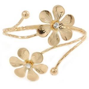 【送料無料】ブレスレット アクセサリ― ゴールドトーンダブルフラワーアッパアームブレスレットgold tone double flower upper arm, armlet bracelet adjustable