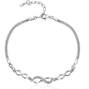 【送料無料】ブレスレット アクセサリ― スターリングシルバーブレスレットシンボルbamoer 925 sterling silver infinity bracelet endless love symbol charm
