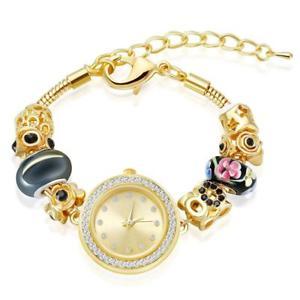 【送料無料】ブレスレット アクセサリ― ゴールドトーンビーズブレスレットブレスレット…charm watches bracelet with manbara gold tone beaded bracelets for women