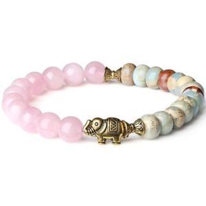 【送料無料】ブレスレット アクセサリ― エレファントローズクォーツビーズブレスレットamorwing stone jewelry elephant variscite rose quartz beaded bracelet for