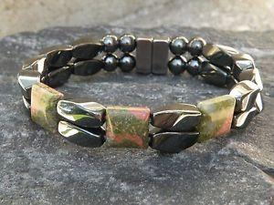 【送料無料】ブレスレット アクセサリ― メンズヘマタイトブレスレットシリーズmens womans magnetic hematite bracelet anklet 2 row unikite 3 stone series