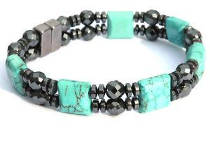 【送料無料】ブレスレット アクセサリ― チョークターコイズヒーリングブレスレットmens womens chalk turquoise magnetic healing bracelet anklet circulation 2row