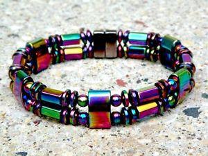 【送料無料】ブレスレット アクセサリ― ヘマタイトブレスレットall rainbow mens womens magnetic hematite powerful bracelet anklet rainbow 2 row