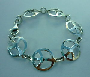 【送料無料】ブレスレット アクセサリ― スターリングシルバーピースサインブレスレット 925 sterling silver peace sign bracelet 75 women beautiful gift