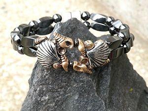 【送料無料】ブレスレット アクセサリ― ブレスレットローダブルゴールデンシルバーwomens magnetic bracelet anklet 2 row dbl golden n silver seashells therapy