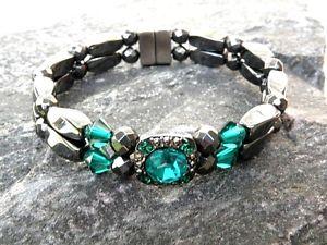 【送料無料】ブレスレット アクセサリ― ヘマタイトブレスレットスワロフスキークリスタルwomens magnetic hematite bracelet anklet 2 row 9 colors with swarovski crystal