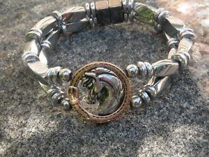 【送料無料】ブレスレット アクセサリ― メンズレディースシルバーヘマタイトブレスレットアラビアスライダmens womens silver magnetic hematite bracelet anklet 2 row arabian horse slider