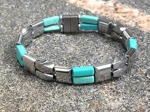 【送料無料】ブレスレット アクセサリ― メンズレディースダブルシルバーブレスレットチョークターコイズmens womens double silver magnetic bracelet anklet w 4x13 chalk turquoise 2 row