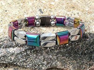 【送料無料】ブレスレット アクセサリ― ヘマタイトブレスレットmen women silver rainbow 100 magnetic hematite bracelet anklet 2row therapeutic