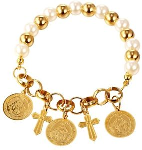【送料無料】ブレスレット アクセサリ― kゴールドメッキクロスチャームブレスレットu7 synthetic pearl girls women gift 18k gold plated cross charm bracelet