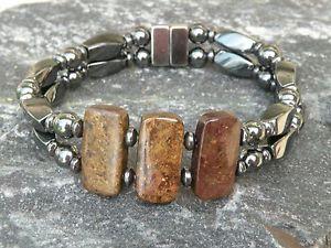 【送料無料】ブレスレット アクセサリ― ヘマタイトブレスレットヒーリングストーンmagnetic hematite bracelet anklet 3 bronzite gemstone 10x20mm healing stone