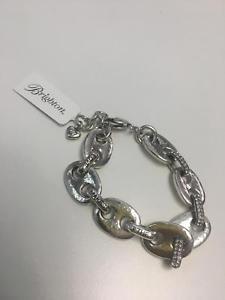 【送料無料】ブレスレット アクセサリ― ブライトンシルバートーンクリスタルチェーンリンクアジャスタブルブレスレットコbrighton silver tone crystal detail chain link heavy adjustable bracelet nwt ko