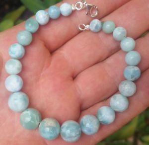 【送料無料】ブレスレット アクセサリ― ビーズスターリングシルバーブレスレットgreat blue round larimar bead stones 925 sterling silver bracelet a3