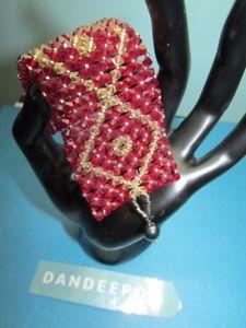 【送料無料】ブレスレット アクセサリ― ルビーレッドメッシュビーズブレスレットruby red amp; yellow crystal mesh bead bracelet jewelry