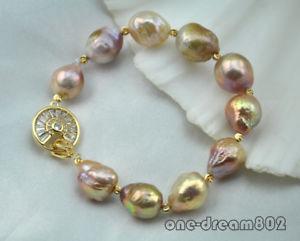 【送料無料】ブレスレット アクセサリ― ピンクパープルバロックパールブレスレット8 15mm pink purple baroque reborn pearl bracelet