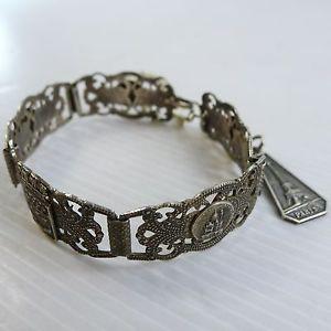 【送料無料】ブレスレット アクセサリ― フランスメッキアールデコブレスレットold silver plated art deco bracelet with different famous places in france