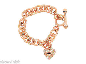 【送料無料】ブレスレット アクセサリ― ジューシークチュールクリスタルリンクハートアイコンブレスレットブランドタグボックスjuicy couture crystal luxe link pave heart icon bracelet brand tags box