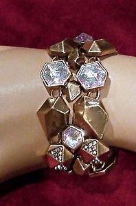 【送料無料】ブレスレット アクセサリ― デザイナーアンティークゴールドカボションカフブレスレット~stunning runway designer antique gold and cabochon crystal cuff bracelet