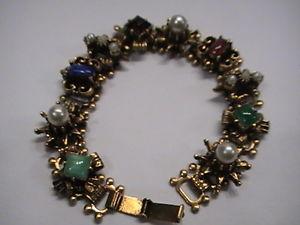 【送料無料】ブレスレット アクセサリ― ヴィンテージブレスレットカスタムvintage brass jeweled bracelet 1950s custom jewelry 75