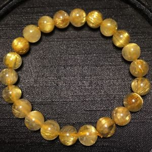 【送料無料】ブレスレット アクセサリ― ルチルチタンクリスタルビーズストレッチブレスレット85mm natural gold rutilated quartz titanium stretch crystal beads bracelet