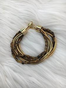 【送料無料】ブレスレット アクセサリ― ミハエルブレスレットブラウンゴールドビーズチェーンフックカバーmichael kors women bracelet brown gold bead chain hook closure b78