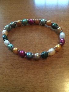 【送料無料】ブレスレット アクセサリ― パールストレッチブレスレットマルチカラーシルバービーズbelpearl pearl stretch bracelet, multi color, silver beads