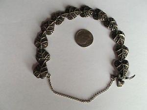【送料無料】ブレスレット アクセサリ― シルバーリーフブレスレットインチ925 silver leaf bracelet with rhinestones 7 inches