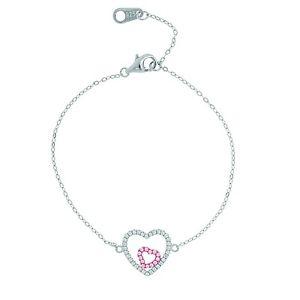 【送料無料】ブレスレット アクセサリ― ステーションオープンczスターリングチェーンブレスレットwomens sterling silver chain bracelet with station open heart charms and czs