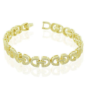 【送料無料】ブレスレット アクセサリ― スターリングシルバーテニスブレスレット925 sterling silver yellow goldtone clear cz dlink tennis bracelet, 7
