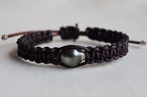 【送料無料】ブレスレット アクセサリ― ブレスレットタヒチgenuine tahitian cultured pearl on brown leather bracelet adjustable yevga