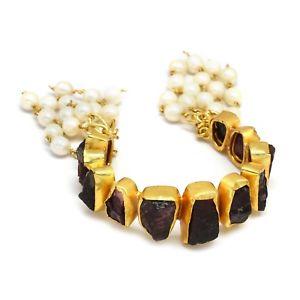【送料無料】ブレスレット アクセサリ― ガーネットkイエローゴールドメッキユニークブレスレットgarnet amp; pearl gemstone handmade 22k yellow gold plated unique bracelets jewelry