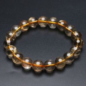 【送料無料】ブレスレット アクセサリ― ゴールドチタンルチルクリスタルビーズブレスレット112mm natural gold titanium rutilated quartz crystal beads bracelet gra031