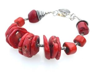 """S2121 8/"""" 20mm Baroque Red Coral Bead Bracelet"""