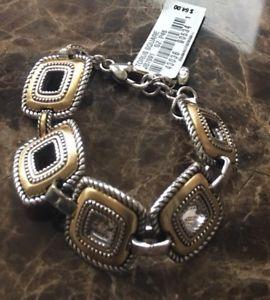 【送料無料】ブレスレット アクセサリ― ブライトントーラススクエアゴールドシルバーリンクブレスレットbrighton torus square gold amp; silver link bracelet nwt