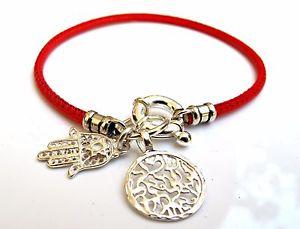【送料無料】ブレスレット アクセサリ― スキーマブレスレットkabbalah red string shema blessing hamsa evil eye silver charms bracelet leather