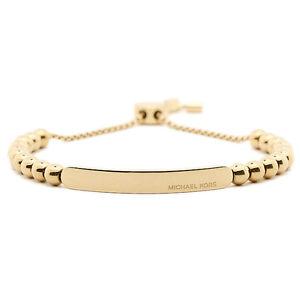 【送料無料】ブレスレット アクセサリ― ミハエルロゴプラークゴールドビーズブレスレットスライド authentic michael kors logo plaque gold beaded slide bracelet mkj5588710