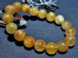 【送料無料】ブレスレット アクセサリ― ゴールデンルチルラウンドビーズブレスレット125mm 3a natural titin golden rutilated quartz round beads bracelet gift bl3216