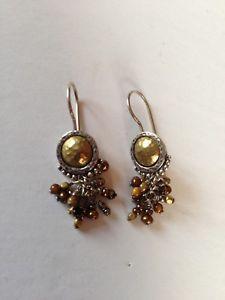 【送料無料】ブレスレット アクセサリ― タイガーアイパールビーズチャチャイヤリングシルバーsilpada tiger eye pearl bead cha cha sterling earrings silver brass htf