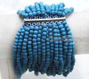 【送料無料】ブレスレット アクセサリ― ストライプターコイズブレスレットブラ small 4mm round blue striped turquoise 20 strands 758 bracelet bra310