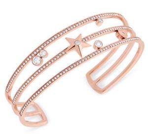 【送料無料】ブレスレット アクセサリ― ミハエルバリスタルカフブレスレットmichael kors mkj6721791 rose goldtone crystal amp; star triplerow cuff bracelet