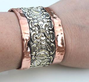 【送料無料】ブレスレット アクセサリ― カフブレスレットアンティークアールヌーボーsilver copper cuff bracelet antique art nouveau rustic distressed floral boho