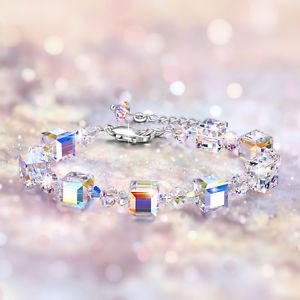 【送料無料】ブレスレット アクセサリ― スワロフスキークリスタルジュエリースターリングシルバーブレスレットエアコンプレゼントaoboco swarovski crystal jewelry charms sterling silver ajustable bracelet gifts
