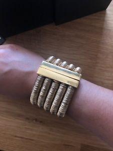 【送料無料】ブレスレット アクセサリ― ゴールドトーンカフブレスレットauthentic balmain hamp;m gold tone 5 row wide runway statement cuff bracelet